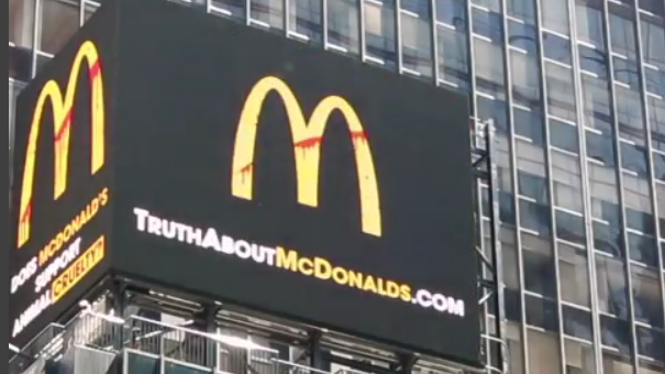 New Animal Rights Billboard in Times Square Asks Consumers to Boycott McDonald's
