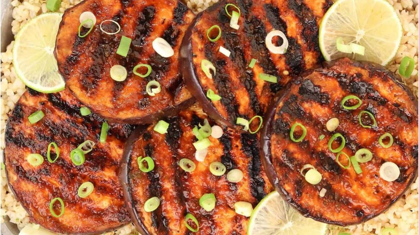 Hot, Sweet and Spicy BBQ Vegan Grilled Eggplant Recipe