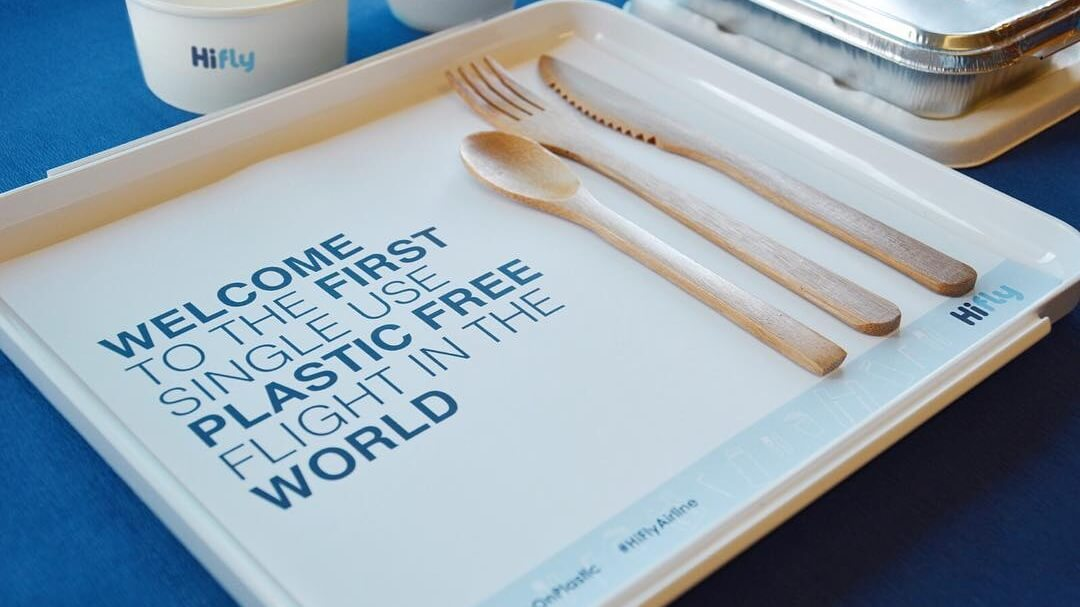 Portuguese Airline Hi Fly Becomes First to Ditch Single-Use Plastics on Flights