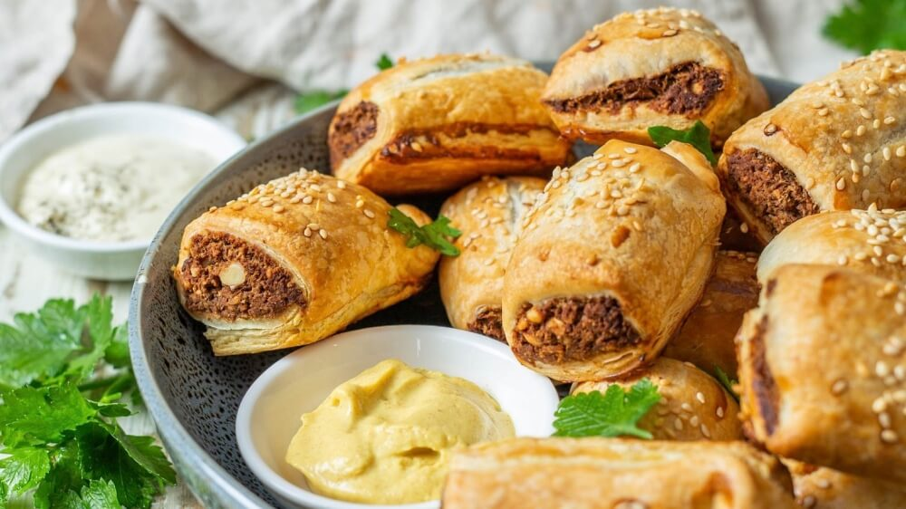 Vegan Meaty Sausage Rolls With Walnuts and Lentils