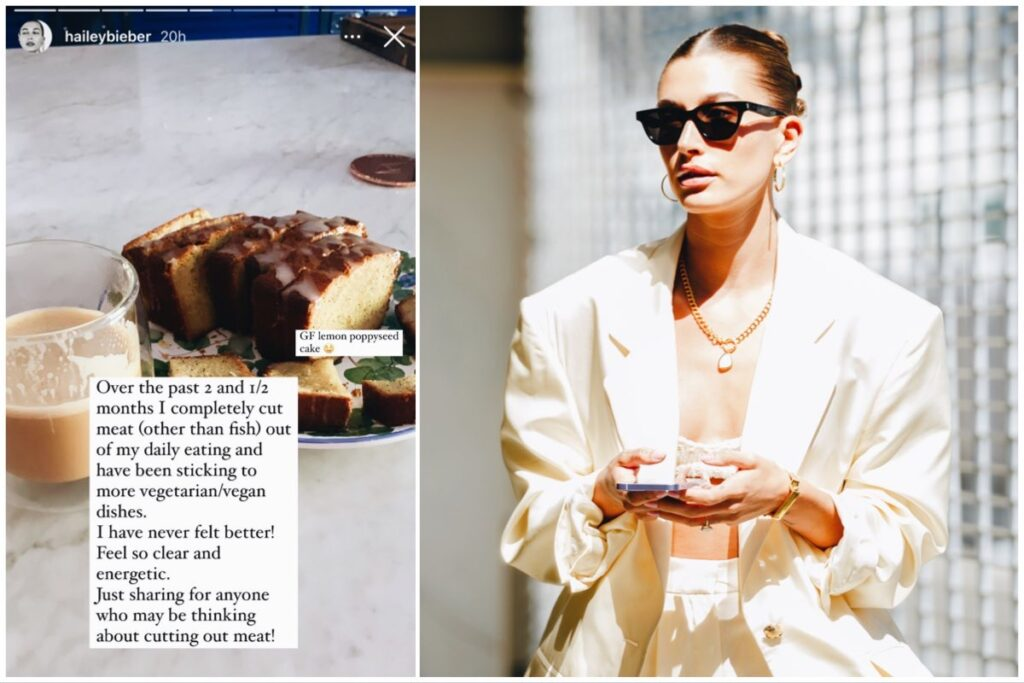 Split image of Hailey Bieber's Instagram post about plant-based food (left) and Bieber herself (right).