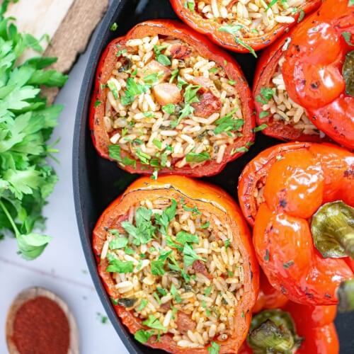 Impress With These Vegan Savory Stuffed Bell Peppers