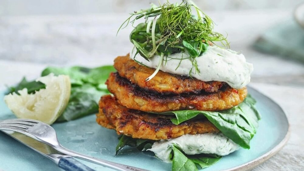 Serve These Vegan Sweet Potato Cakes With Dill and Yogurt