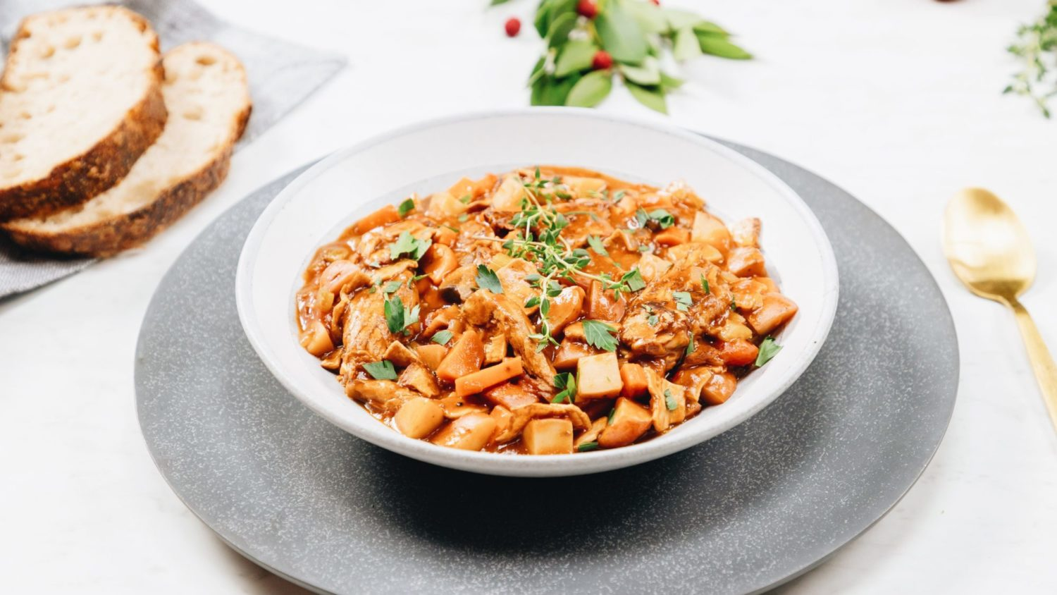 Hearty Vegan Stew With Potatoes and Plant-Based Pulled Pork