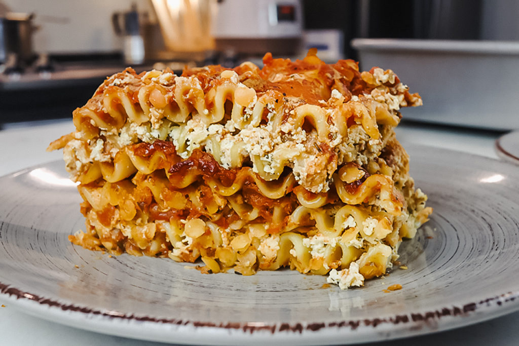 This vegan lasagna features layers of noodles, tofu ricotta, and red sauce.   Rose Lee/LIVEKINDLY