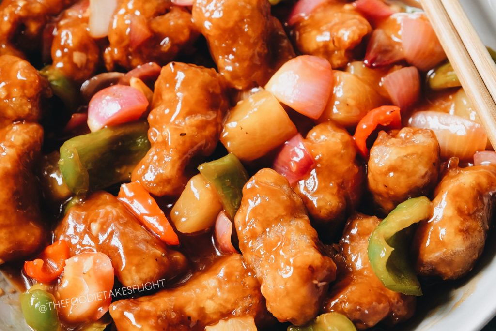 Vegan soy chunks replace pork in this Chinese sweet and sour recipe.
