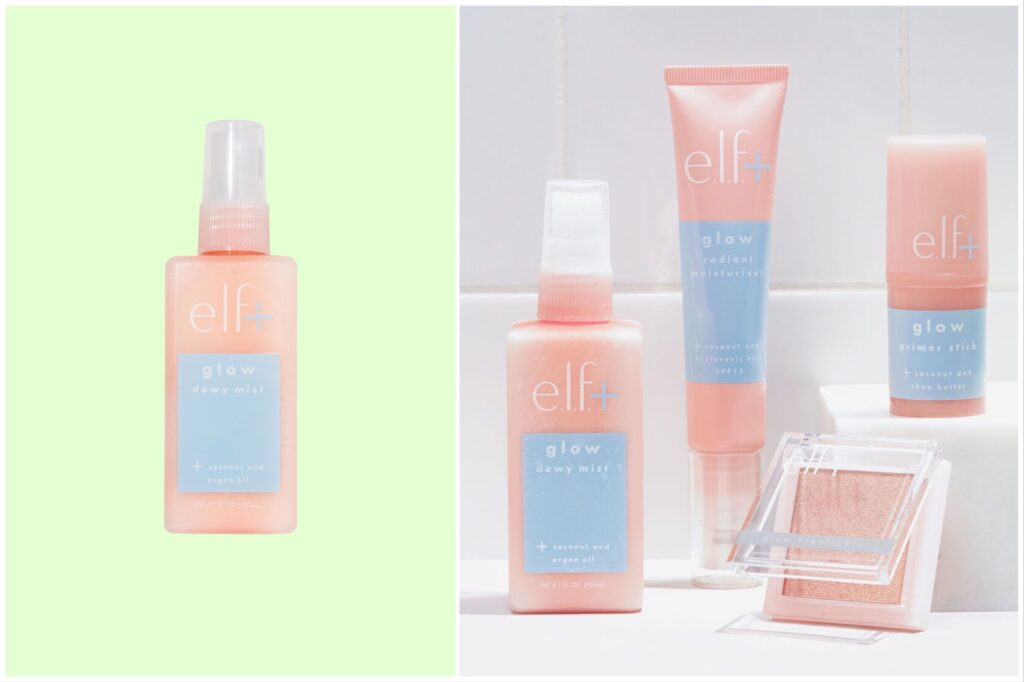 Split image: one face mist shown against a green background and the face mist with other E.l.f products on a bathroom shelf.