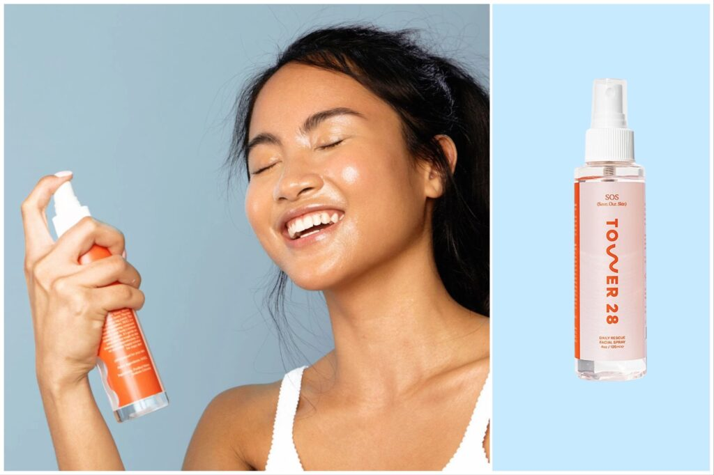 split image: a woman spraying her face with Tower 28 face mist, and a bottle of face mist against a blue background.