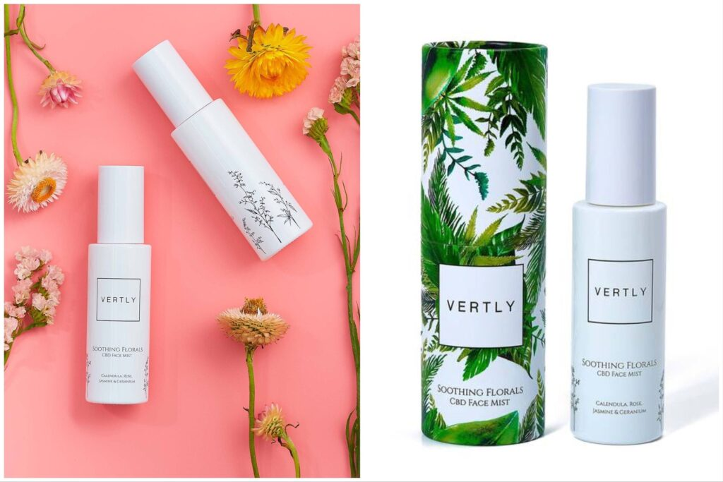 Vertly face mist against a pink background with flowers split with a bottle of vertly face mist next to its box.