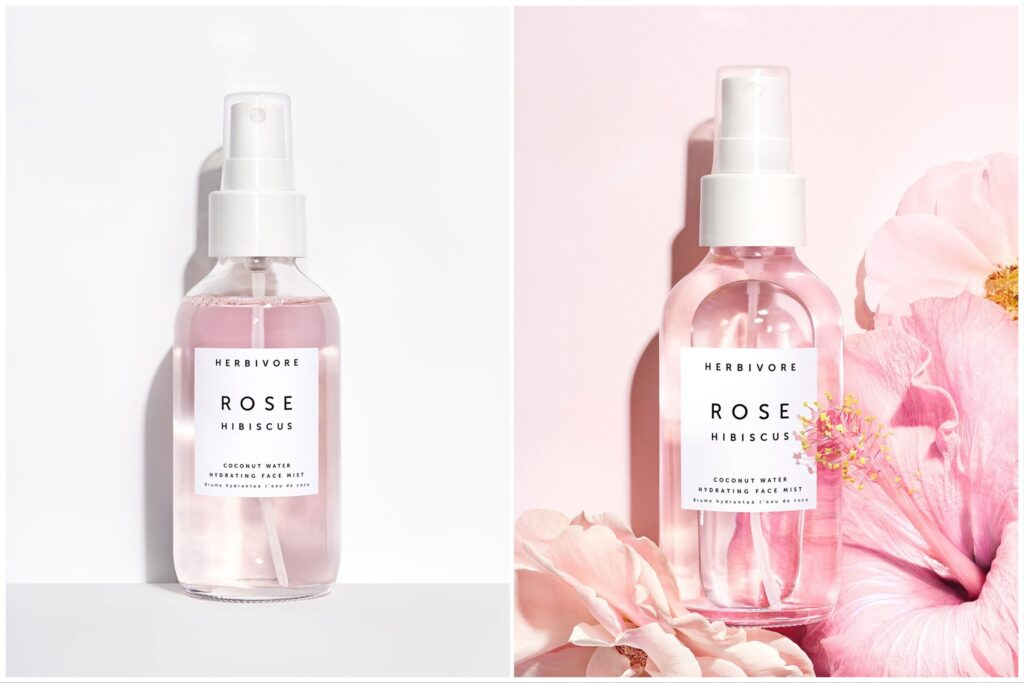 two bottles of herbivore face mist, one against a plain white back ground, one with flowers.