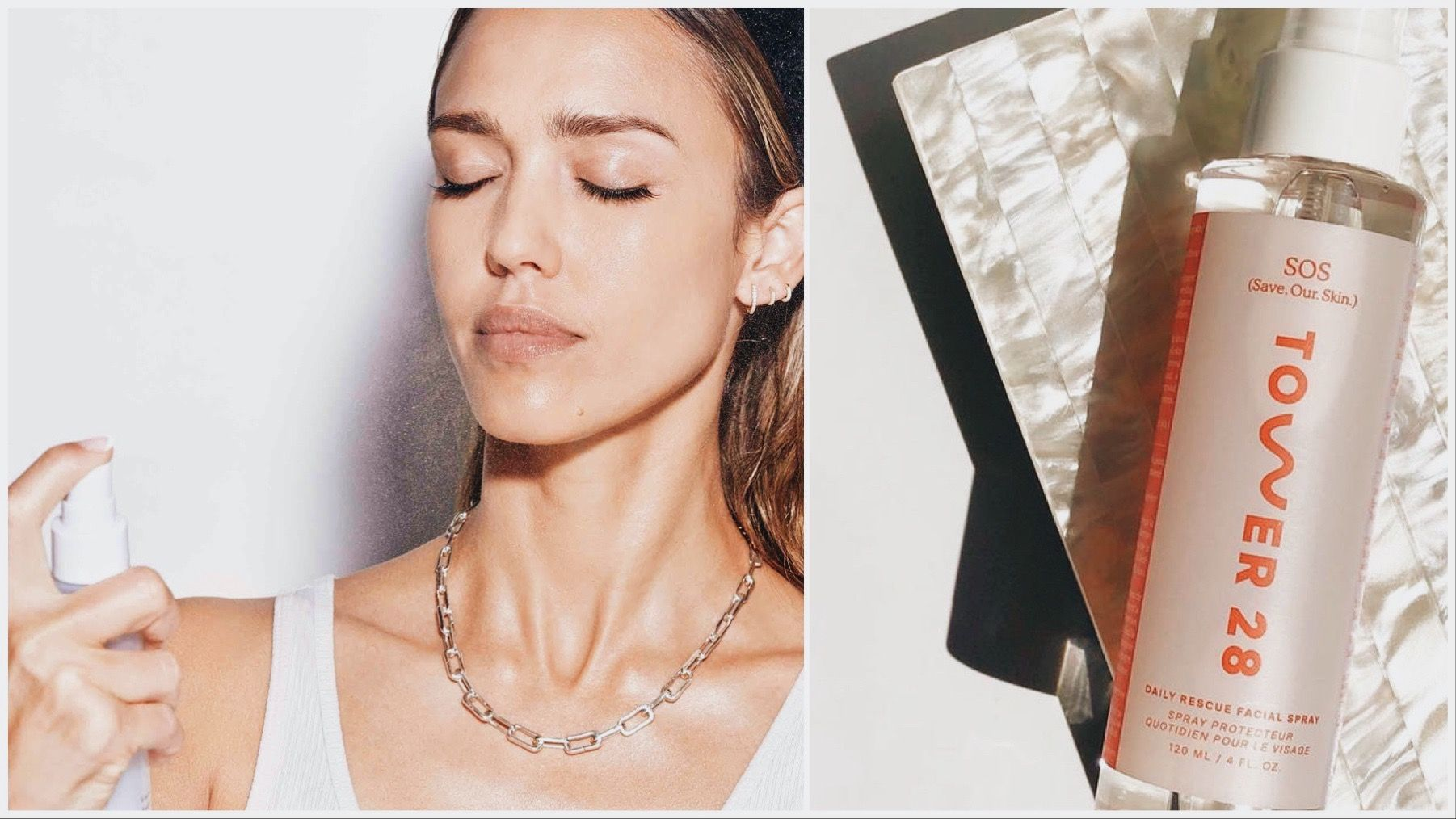 One image of Jessica Alba spraying her face with Honest Beauty face mist. One image of Tower 28 face mist.