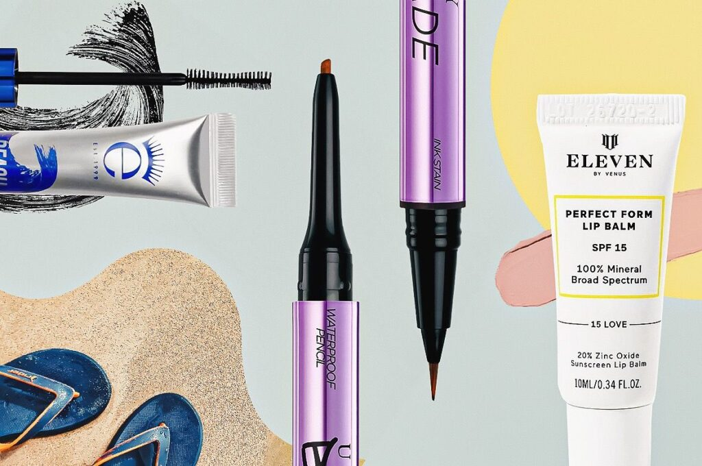 beach beauty products against a beachy background
