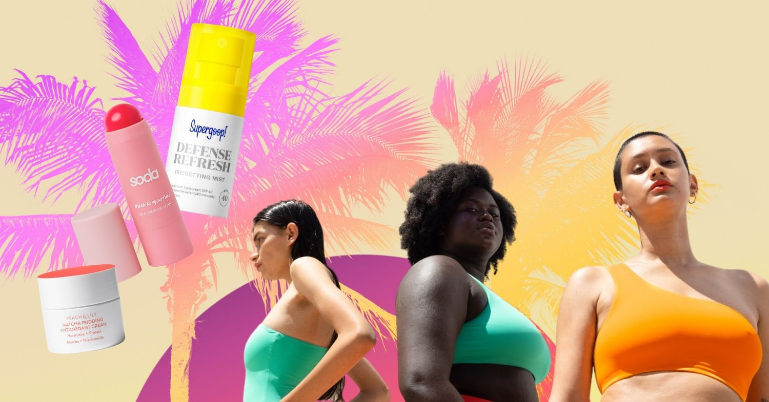 3 women and summer style products against a palm tree background