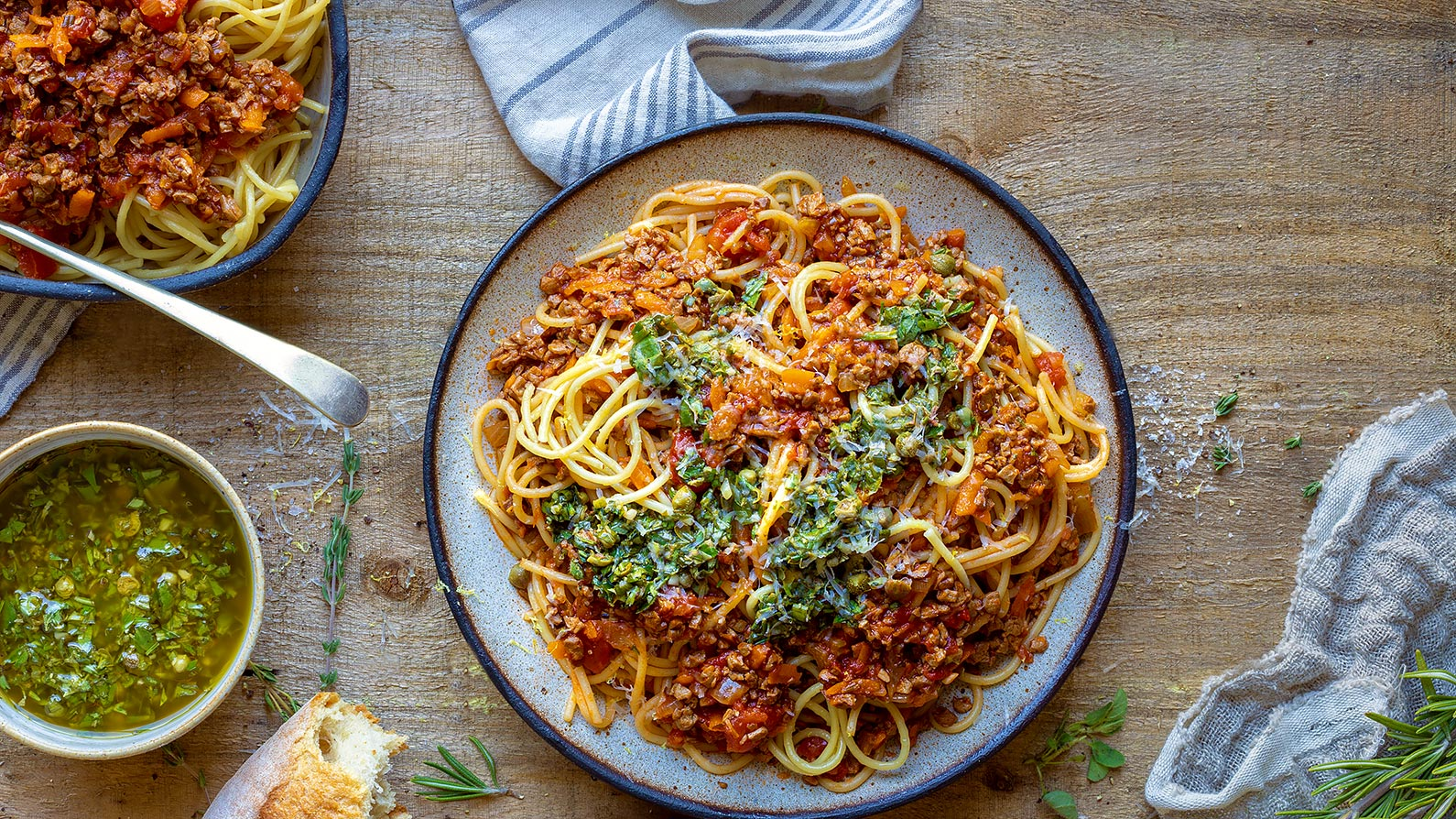 Plant-Based Bolognese with Salsa Verde