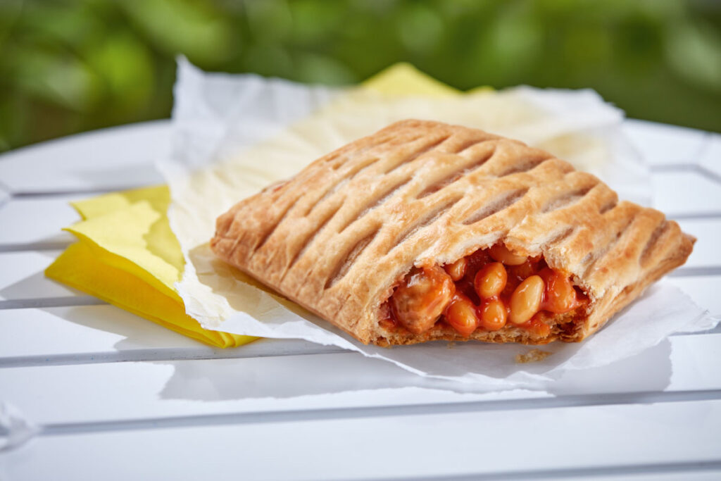 Photo of Greggs' new vegan Sausage, Bean, and Cheese Melt.