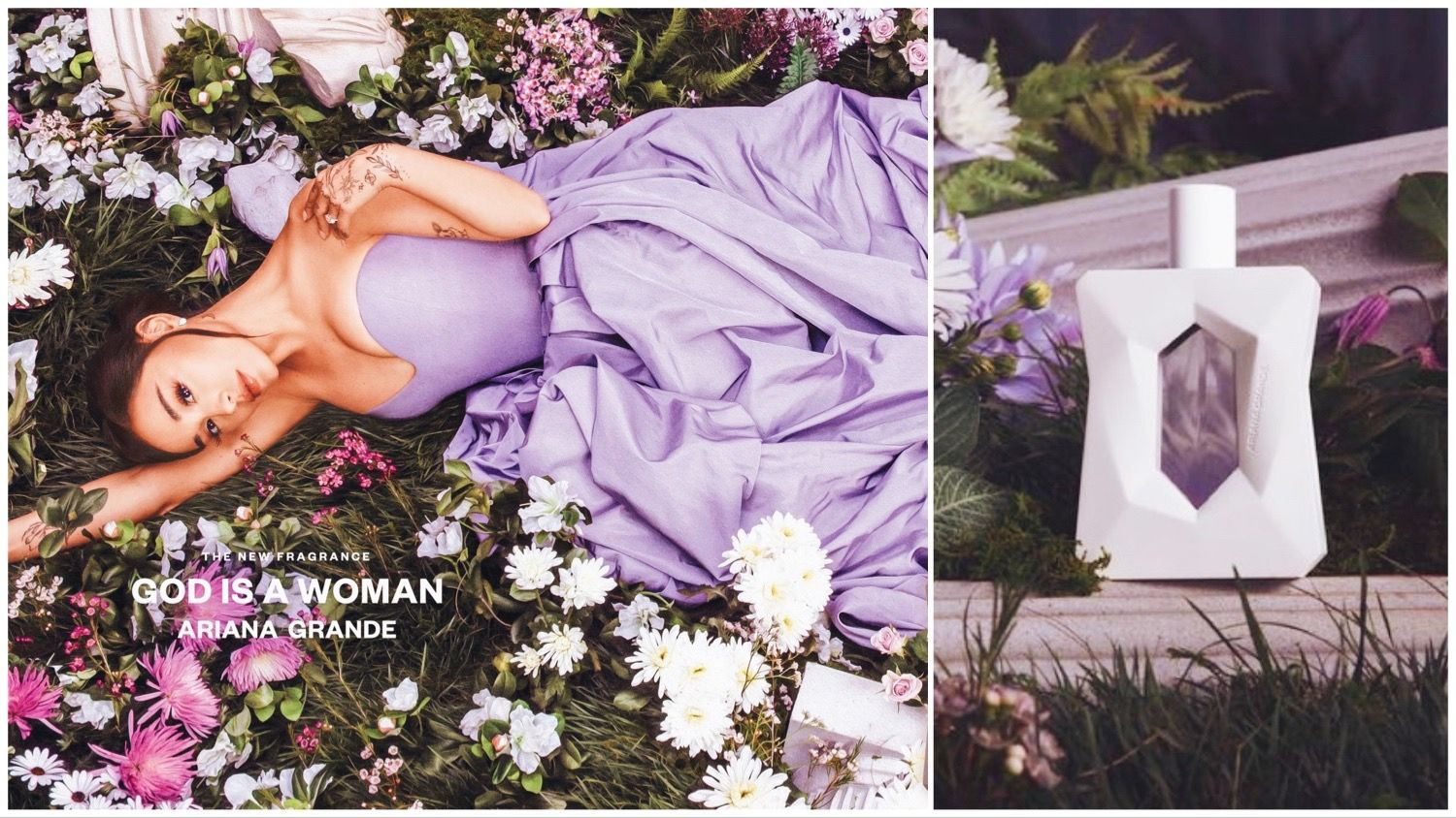 Ariana Grande lying down in a field of flowers, split with her new perfume bottle