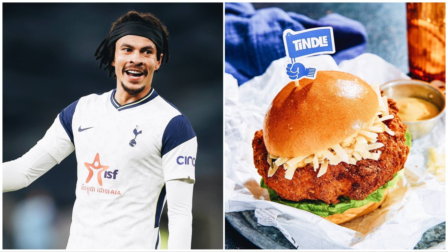 Split image of Dele Alle (left) and a Tindle burger (right), the latest investment by the English footballer.