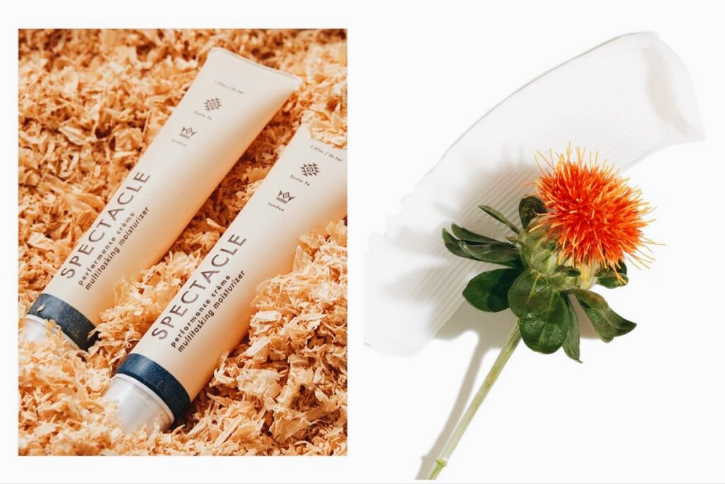 Split image of Spectacle moisturizer (right) and vegan sources of squalene-like oil, including the safflower.