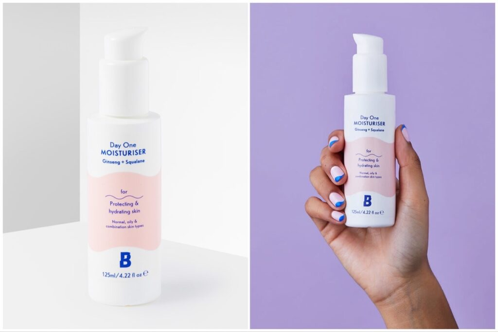 Split image of Beauty Bay Day One moisturizer on a white background (left), and in someone's hand on a purple background (right).