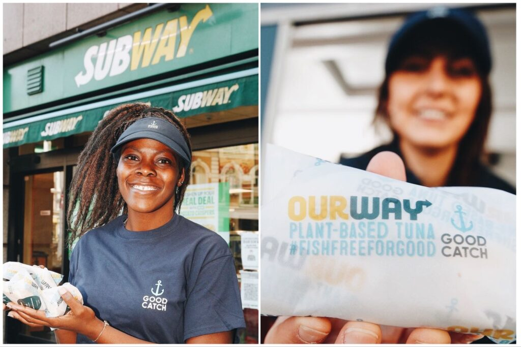 Split image of two different Good Catch employees holding up vegan tuna outside Subway.