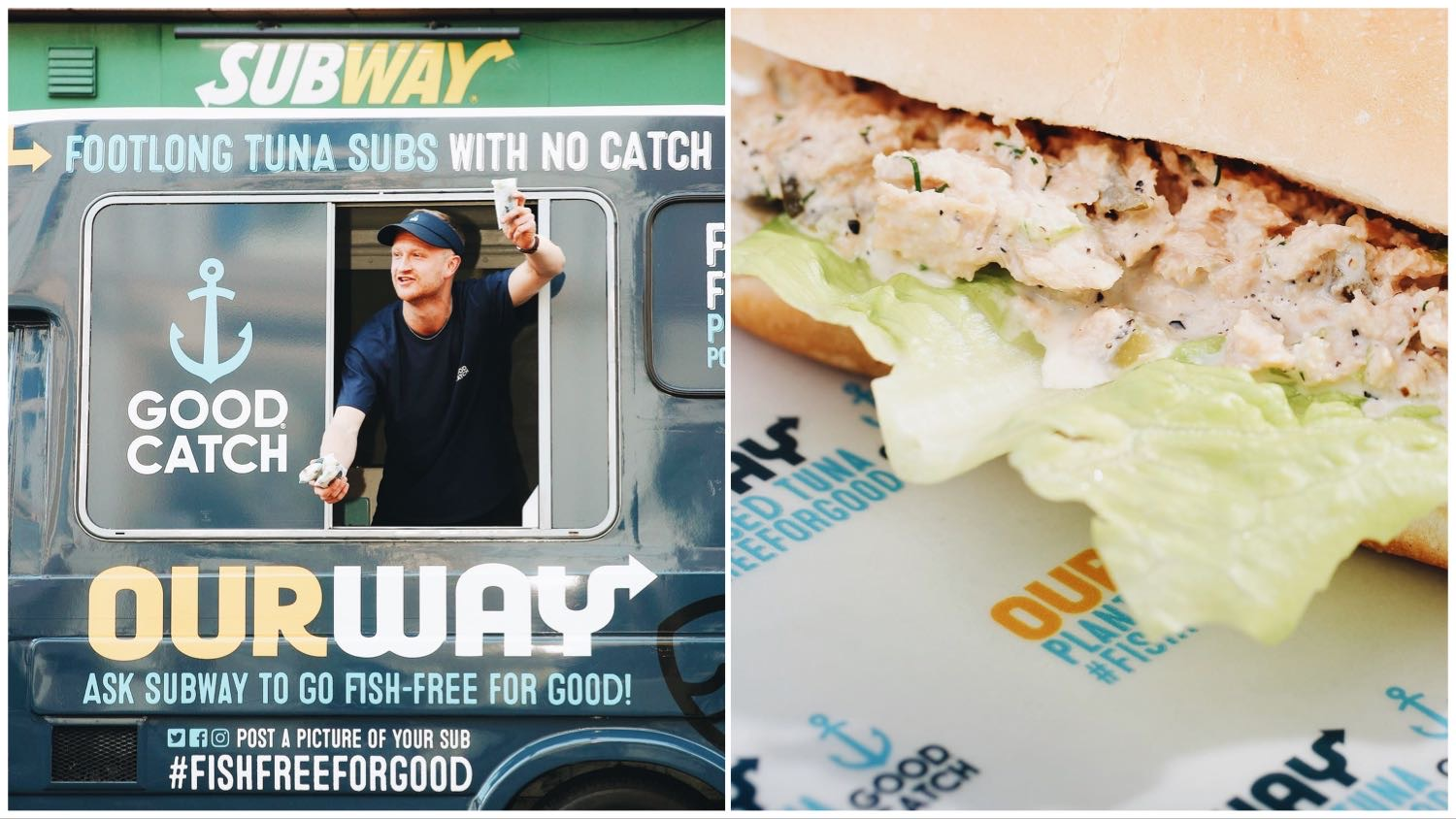 Split image of an employee leaning out of the GoodCatch van outside of Subway (left), and the vegan tuna sandwich itself (right).