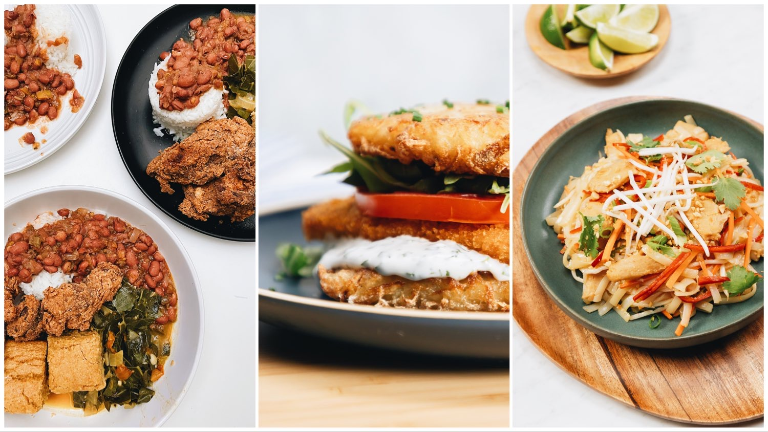 Three way split image featuring photos of a soul food meal (left), a vegan chicken sandwich (center), and orange chicken (right).