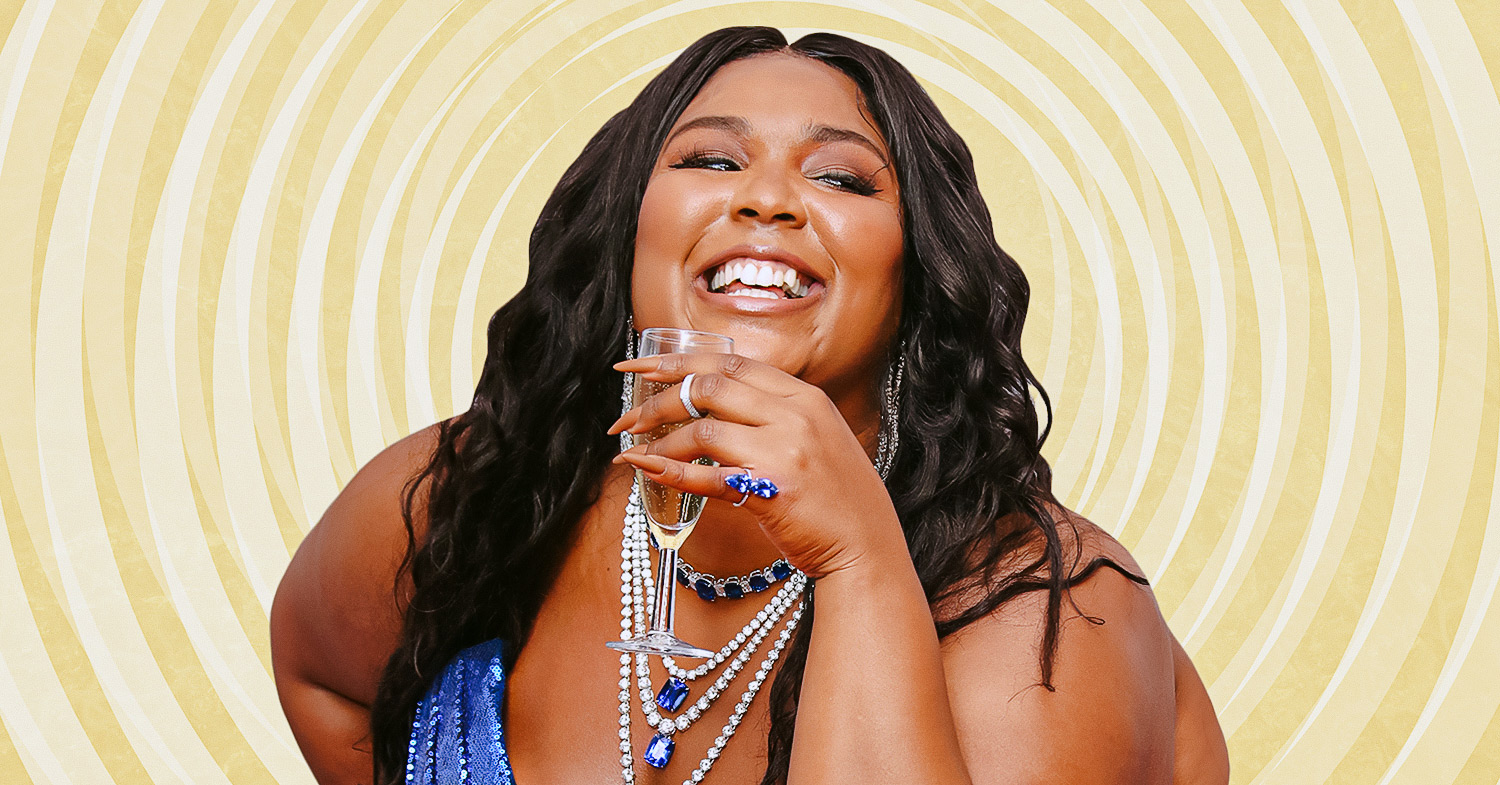 How to cook vegan like Lizzo. Image features Lizzo on a swirling yellow background.