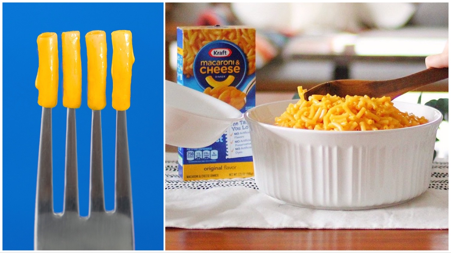 Split image of Kraft logo featuring maceroni on a fork (left) and a box of the brand's vegan mac and cheese next to a plated up serving (right).