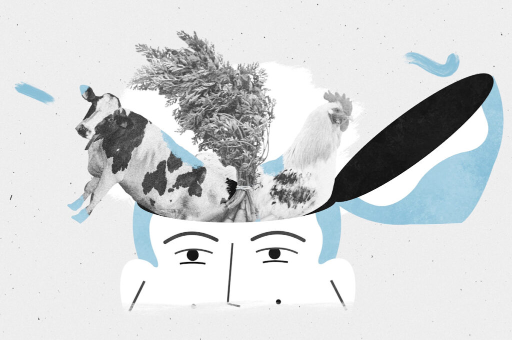 An animation of a cow, a vegetable and a chicken emerging from a person's head