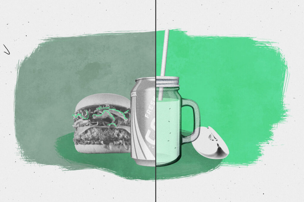 An animation showing a split of a soda with a hamburger and a green juice