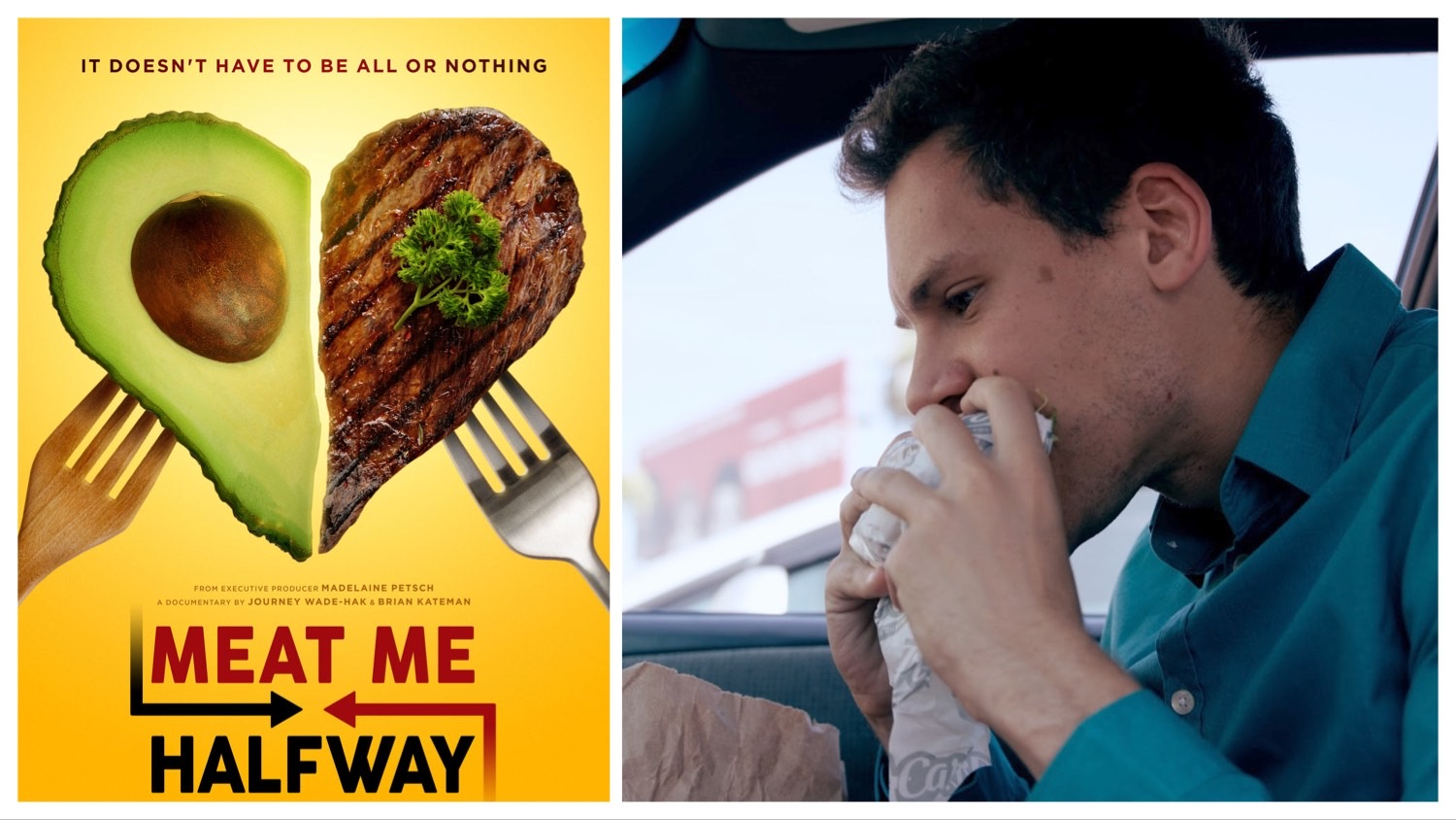 A split photo of the 'Meat Me Halfway' poster and Brian Kateman eating a meat-free meal