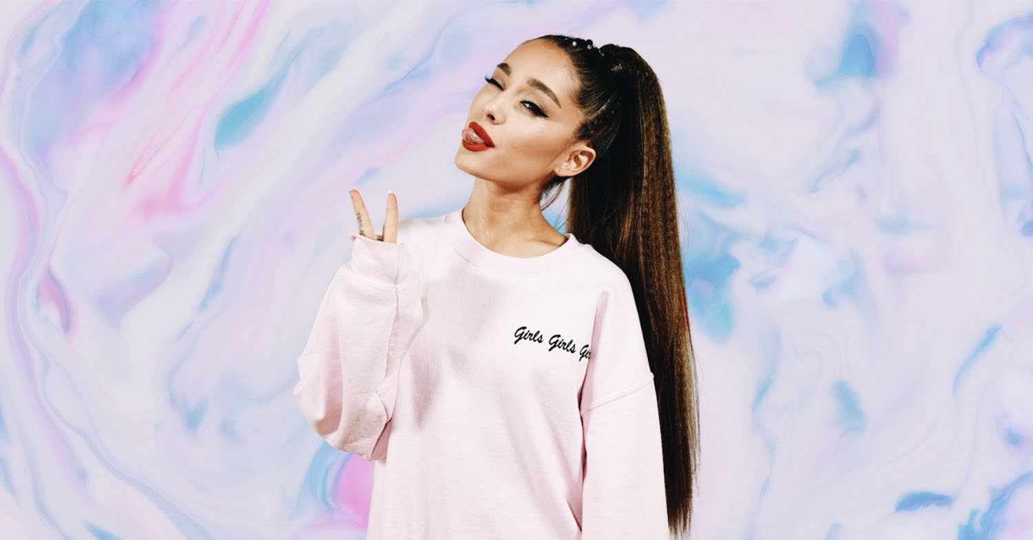 Photo features Ariana Grande on a blue sky and clouds background. Is the singer about to launch R.E.M., her new beauty brand?