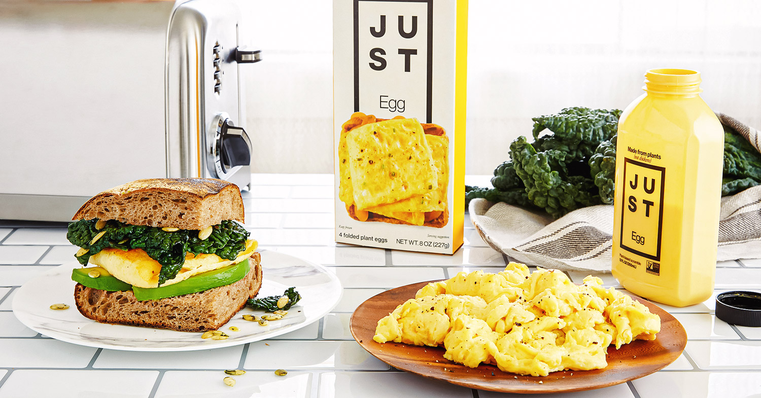 Photo features Eat Just's Just Egg Folder plated up, in a snadwich, and in its packaging—the vegan egg just launched in South Africa.
