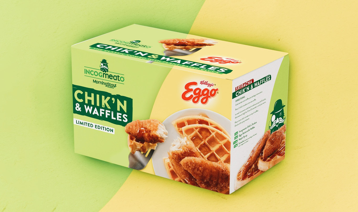 Photo of Eggo's new limited edition buttermilk waffles and vegan chicken package.
