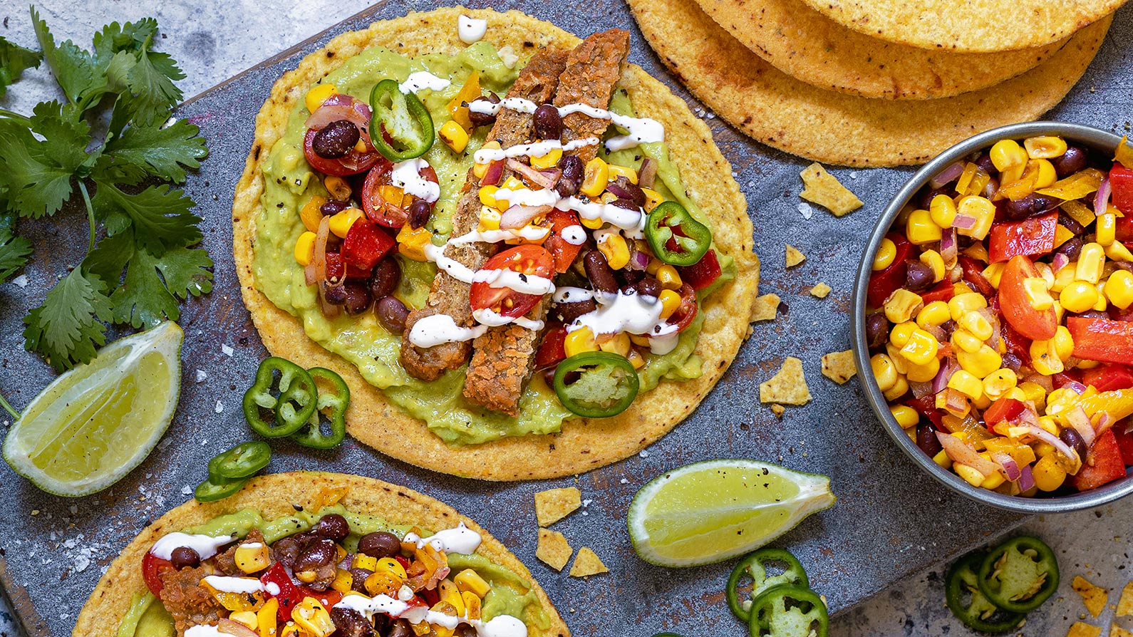 Tostadas get an upgrade with plant-based schnitzel.