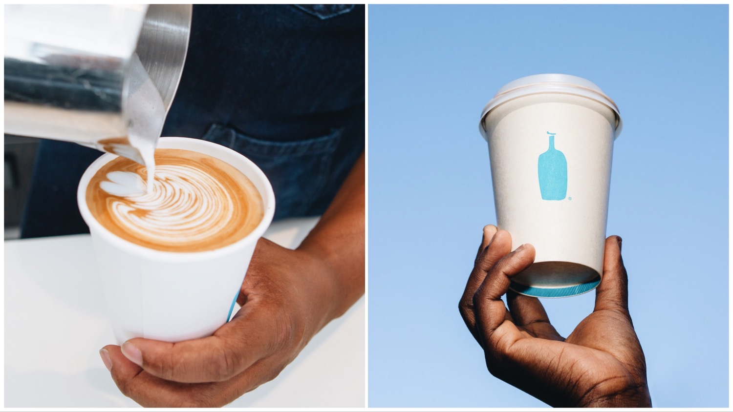 Split image of a barista pouring latte art (left) and someone holding up a Blue Bottle Coffee cup (right).
