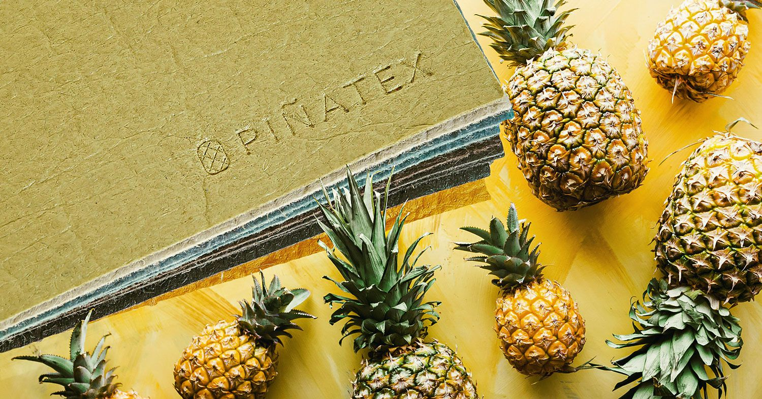 pinatex leather next to pineapples on a yellow background