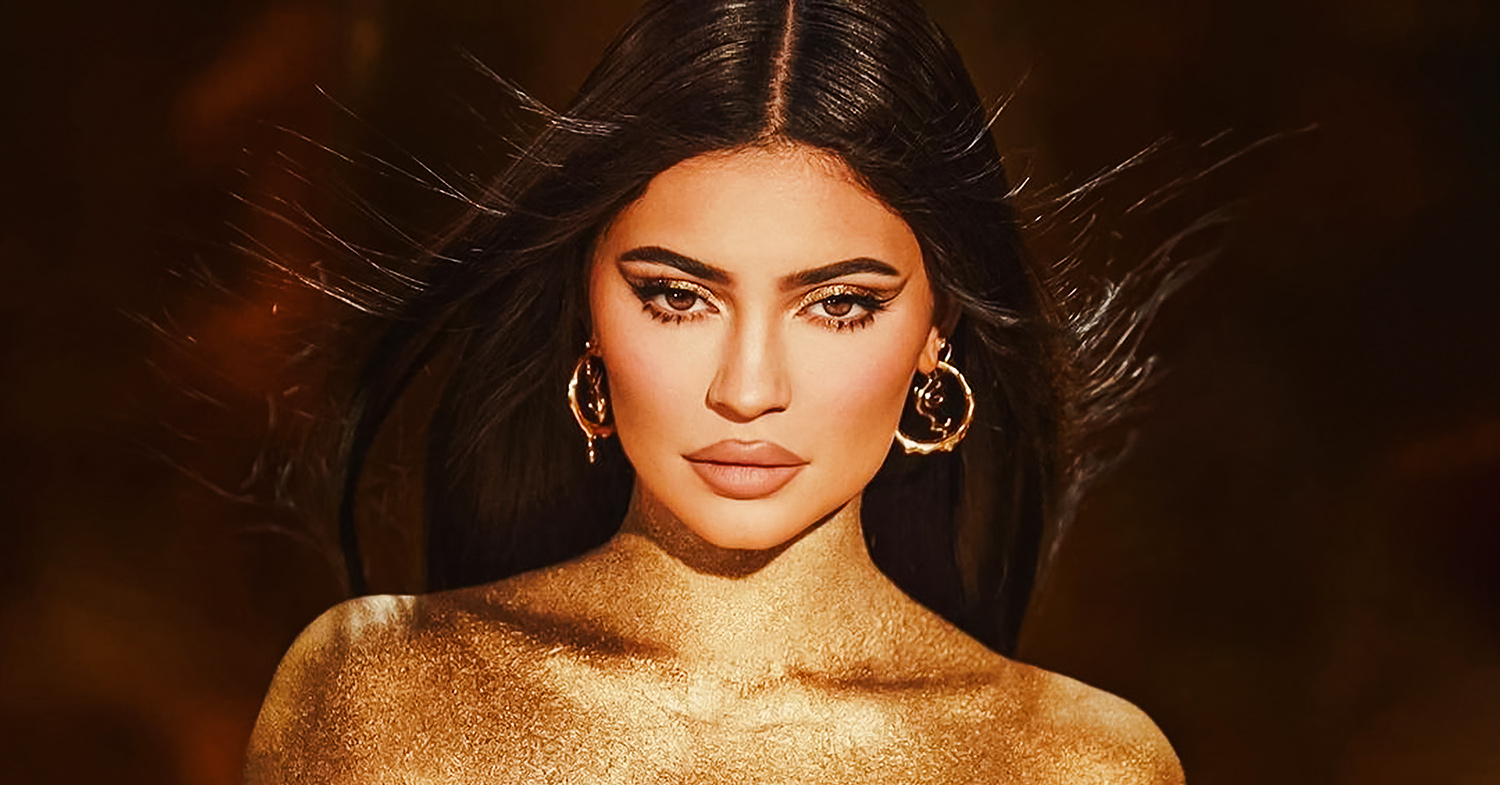Photo of Kylie Jenner wearing cosmetics from her new Birthday Collection.
