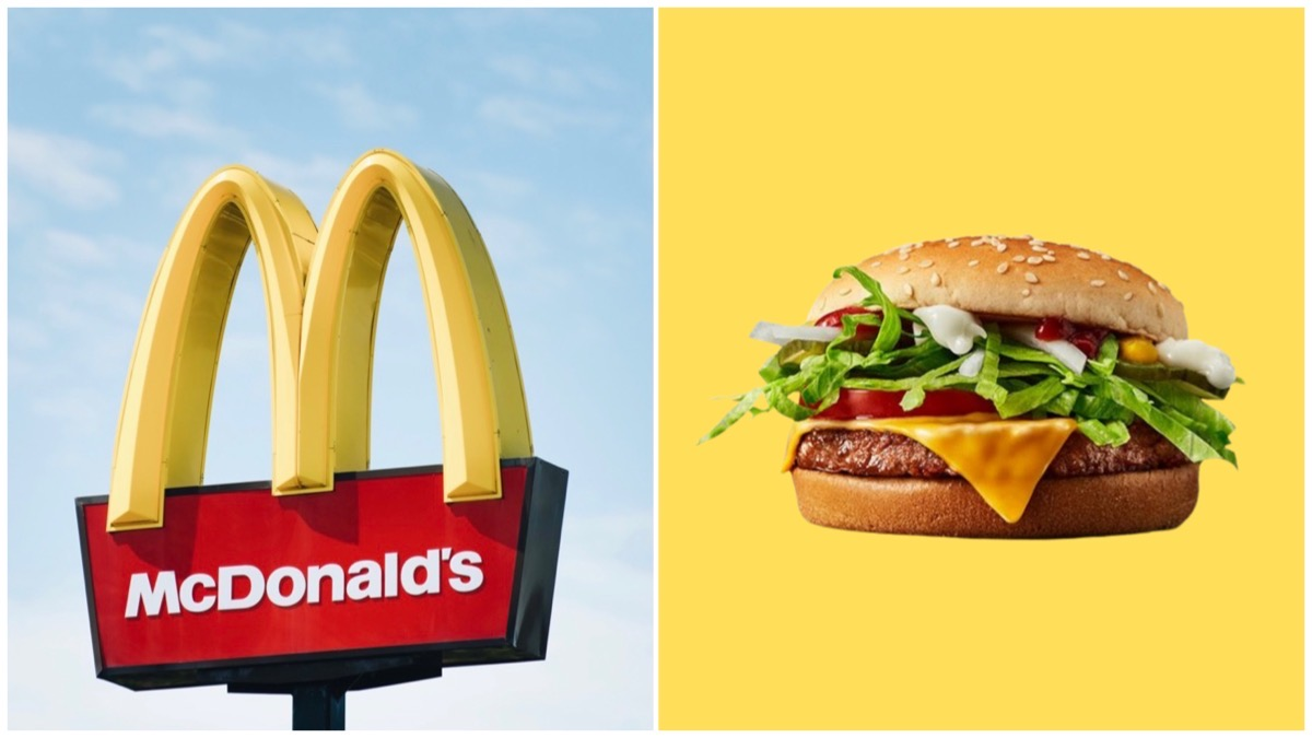 Split image of the McDonald's golden arches logo (left) and a McPlant burger (right).