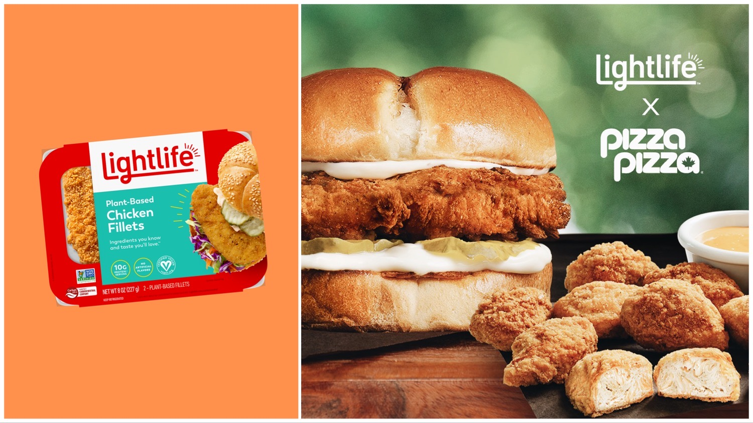 Split image featuring Lightlife vegan chicken packaging on an orange background (left) and prepared as Pizza Pizza's burger and bites (right).