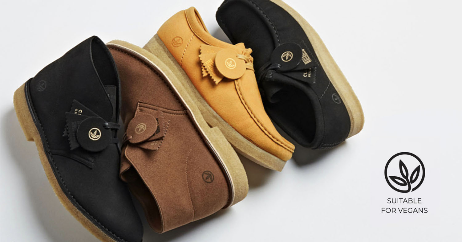 Photo of Clarks' New Vegan Icons range, which features the popular Desert Boot and Wallabee shoe.