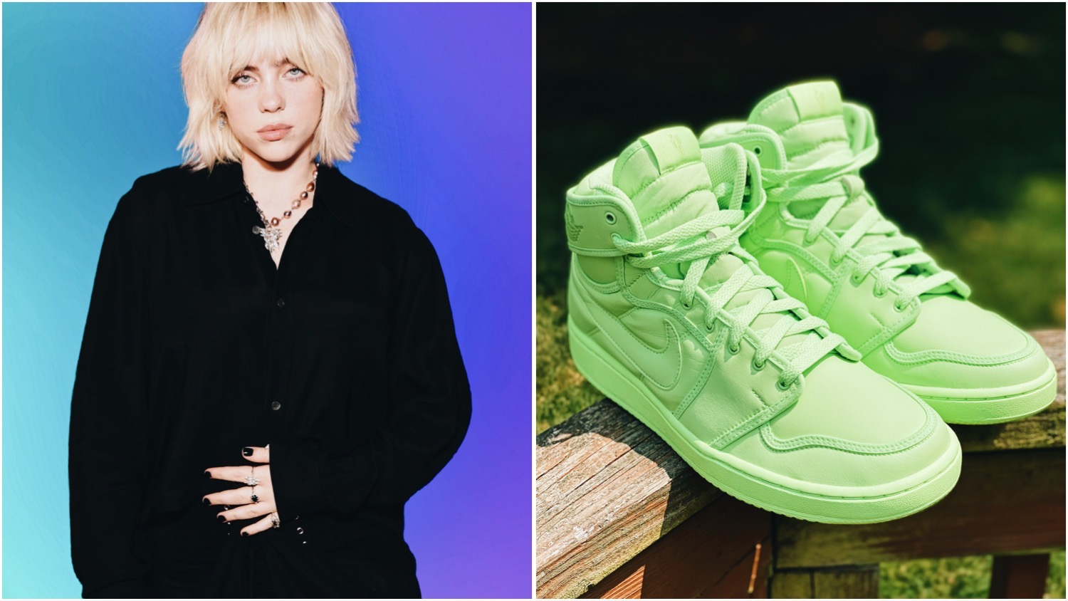 Split image features a photo of Billie Eilish on a multi-colored background (left), and a photo of the upcoming shoes (right). The singer is partnering with Nike to produce a custom Air Jordans design in her signature slime green.