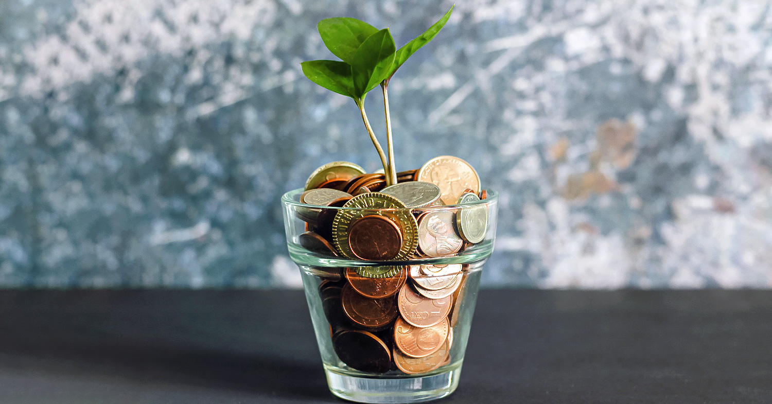 Photo features a small glass filled with small change with a green plant growing out of it. Today, impact investing is for everyone, even beginners.
