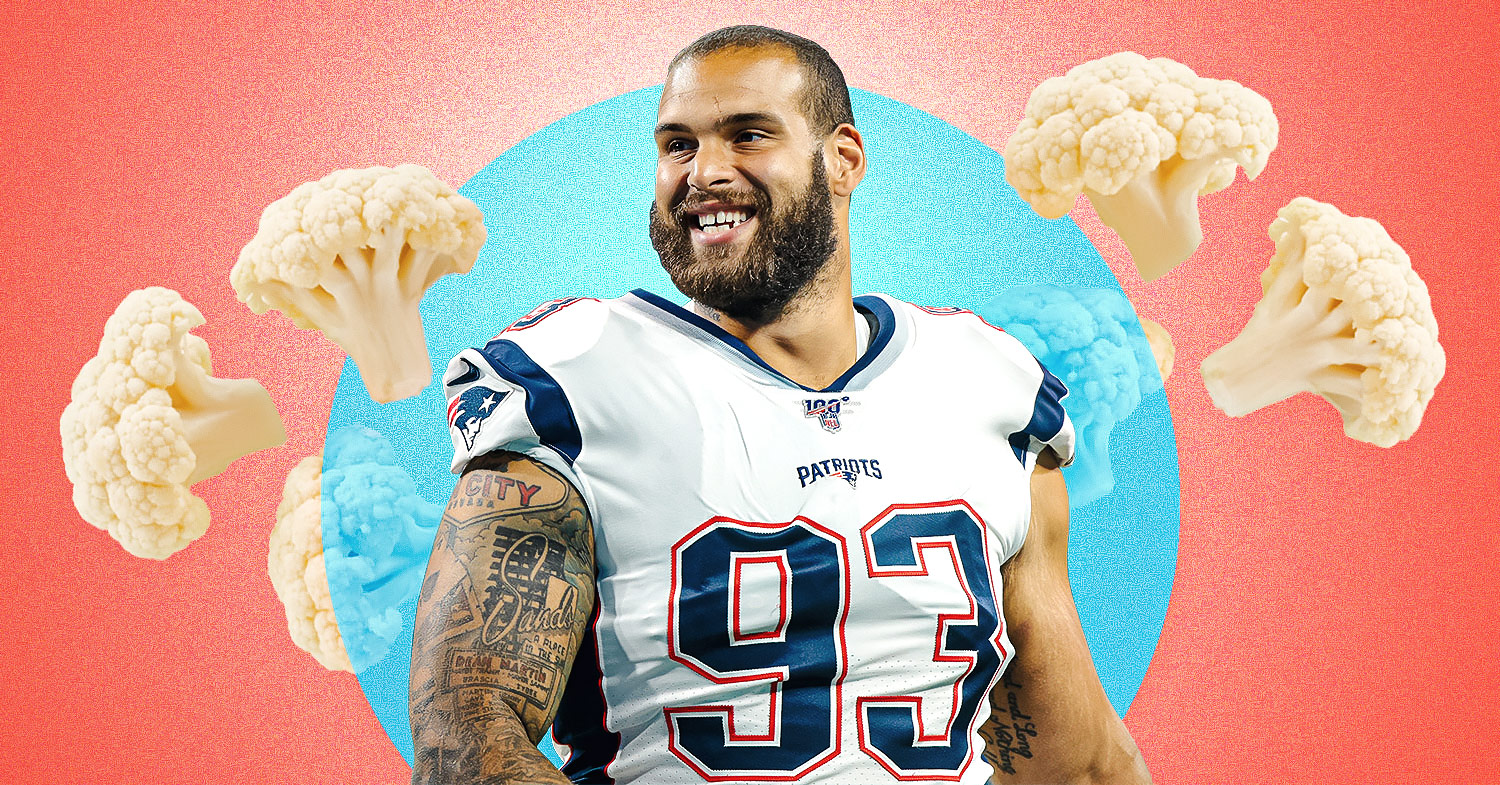 Image features Lawrence Guy on a blue and pink background featuring cauliflower. The Patriots lineman says he's going vegan bit by bit.