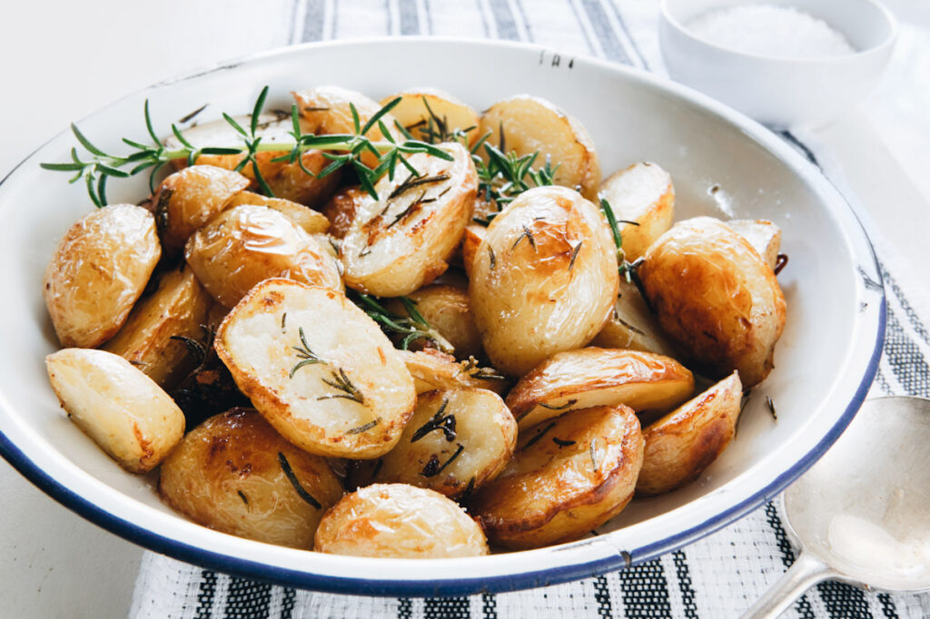 bowl of roasted red potatoes